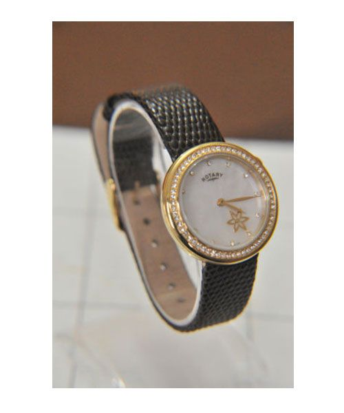 Rotary ladies gold plated leather strap Watch