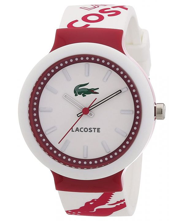 Lacoste Goa Unisex White and Pink Silicon Strap Watch 2010523 ~ RRP £59.99 ~