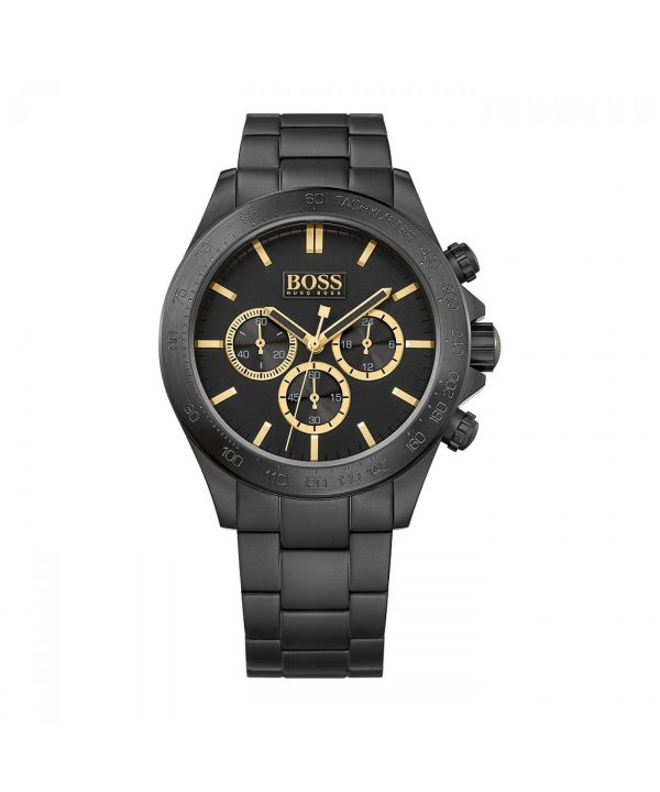 Hugo Boss Icon HB1513278 Men's Black and Gold Chronograph Watch ~RRP £399.95~